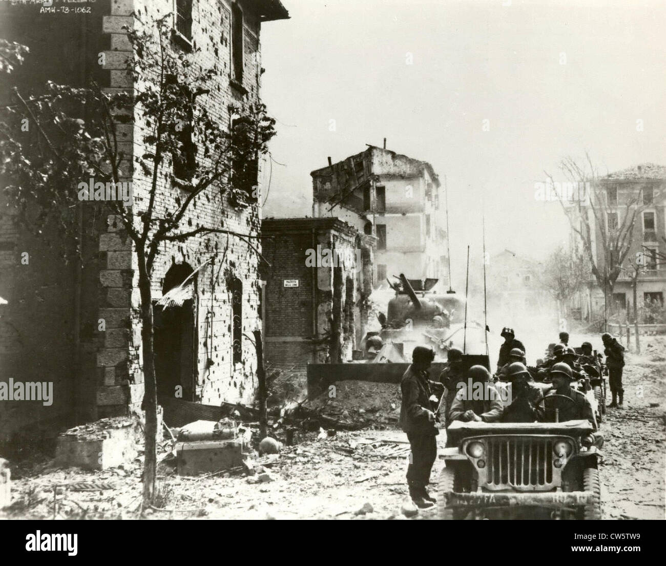 MB model jeep during World War II in Vergato - Stock Image