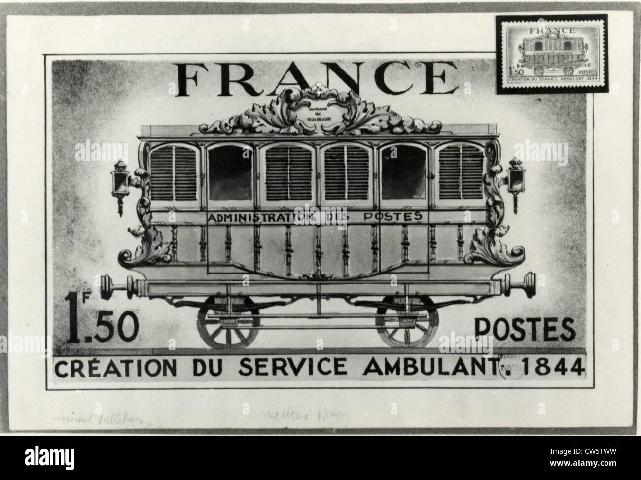 Stamp illustrating the creation of an ambulatory department of the French Postal Administration in 1844 - Stock Image