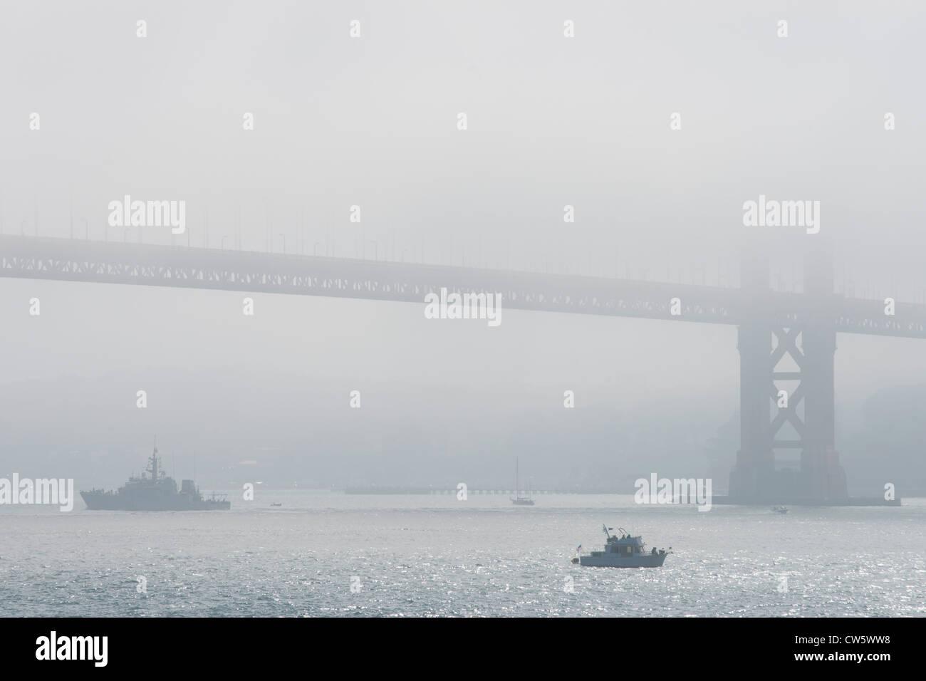Fleet Week at Golden Gate Bridge, San Francisco, California. Naval and air displays. Bridge from Kirby Cove. - Stock Image