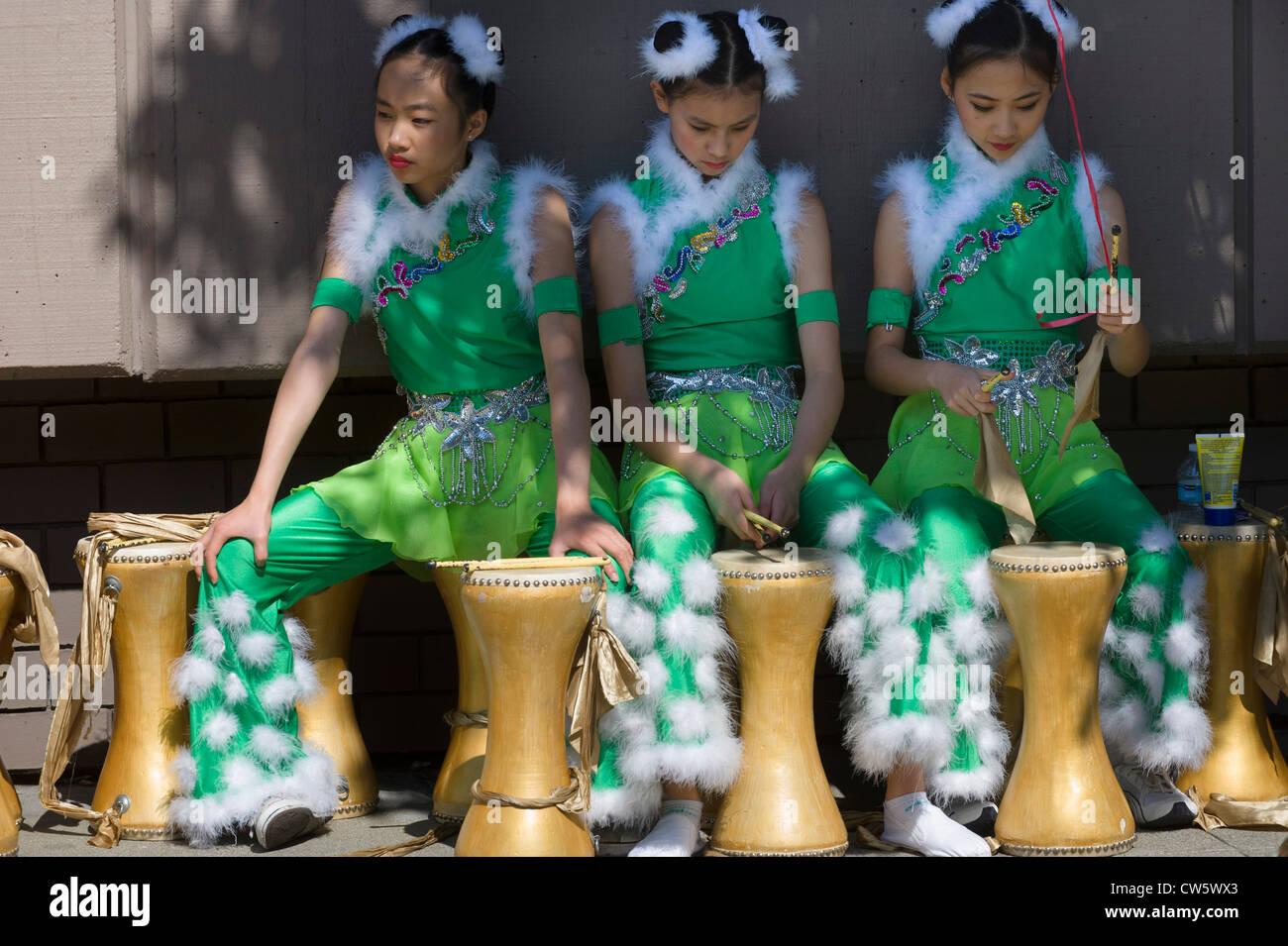 Girls at Italian Heritage Parade, part of Fleet Week, San Francisco, California. - Stock Image
