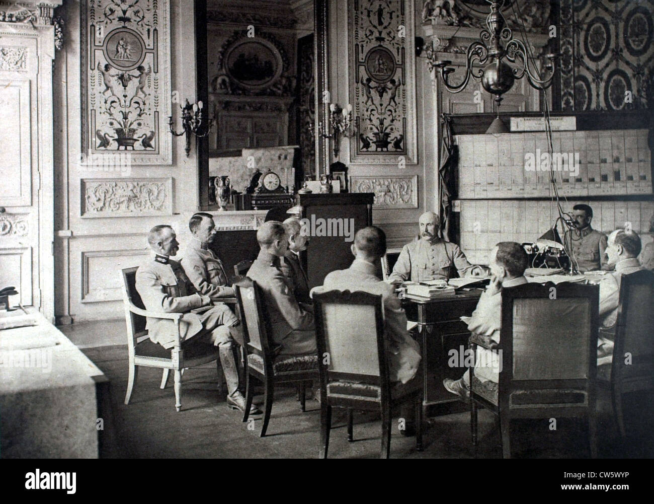 World War I. Daily report at General Pétain's cabinet (Summer 1917) - Stock Image