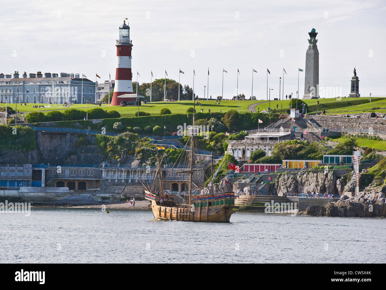 The Matthew, a replica of a 15th century caravel, anchored off Plymouth Hoe, Devon, UK - Stock Image
