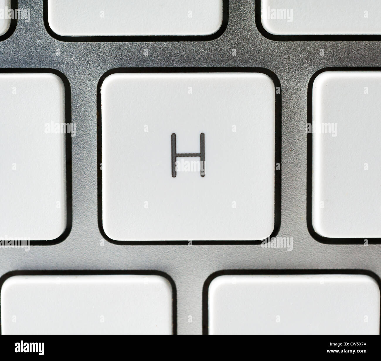 Letter H on an Apple keyboard - Stock Image