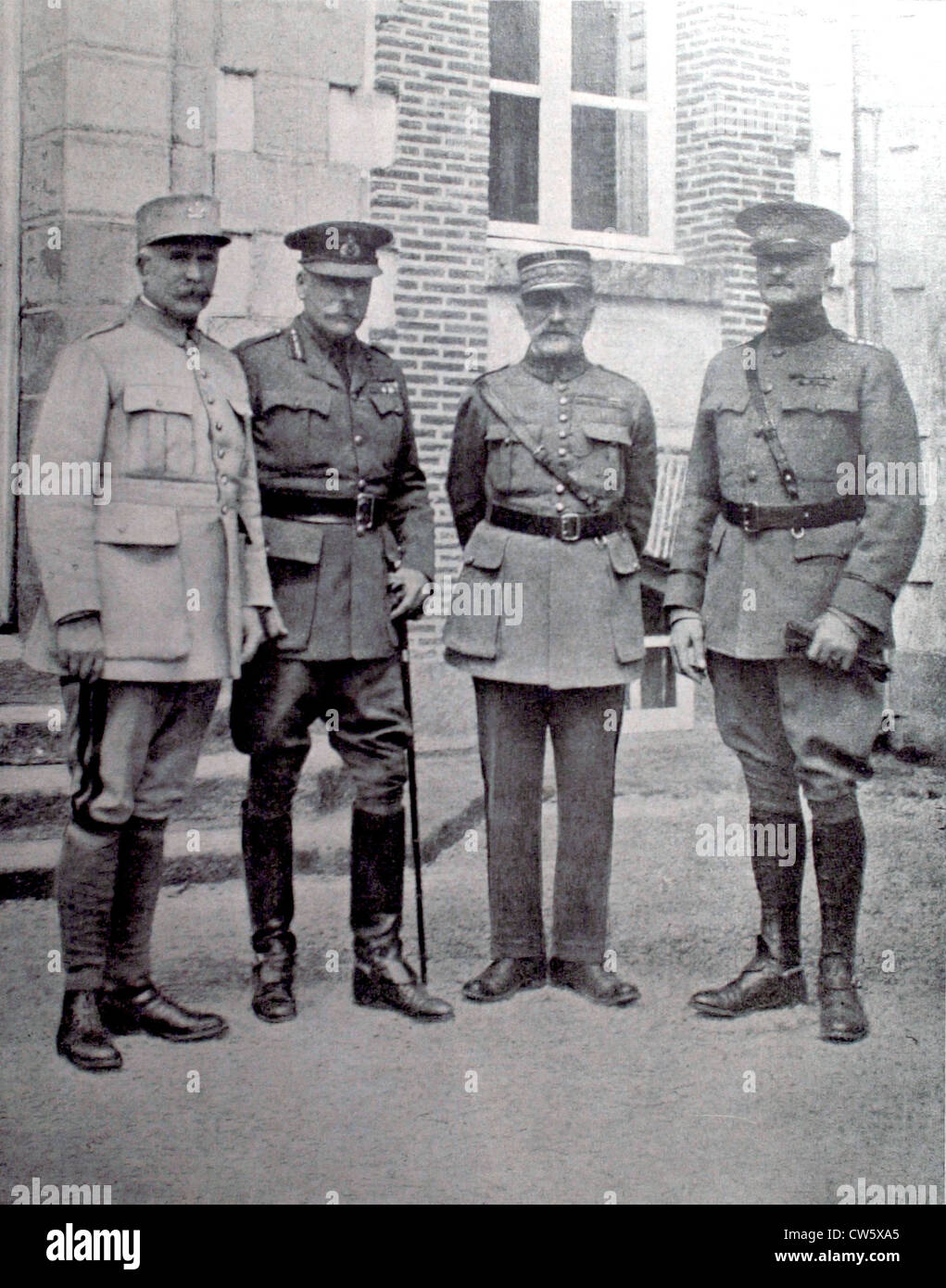 World War I commanders-in-chief French British American armies brought together  general headquarters commander - Stock Image