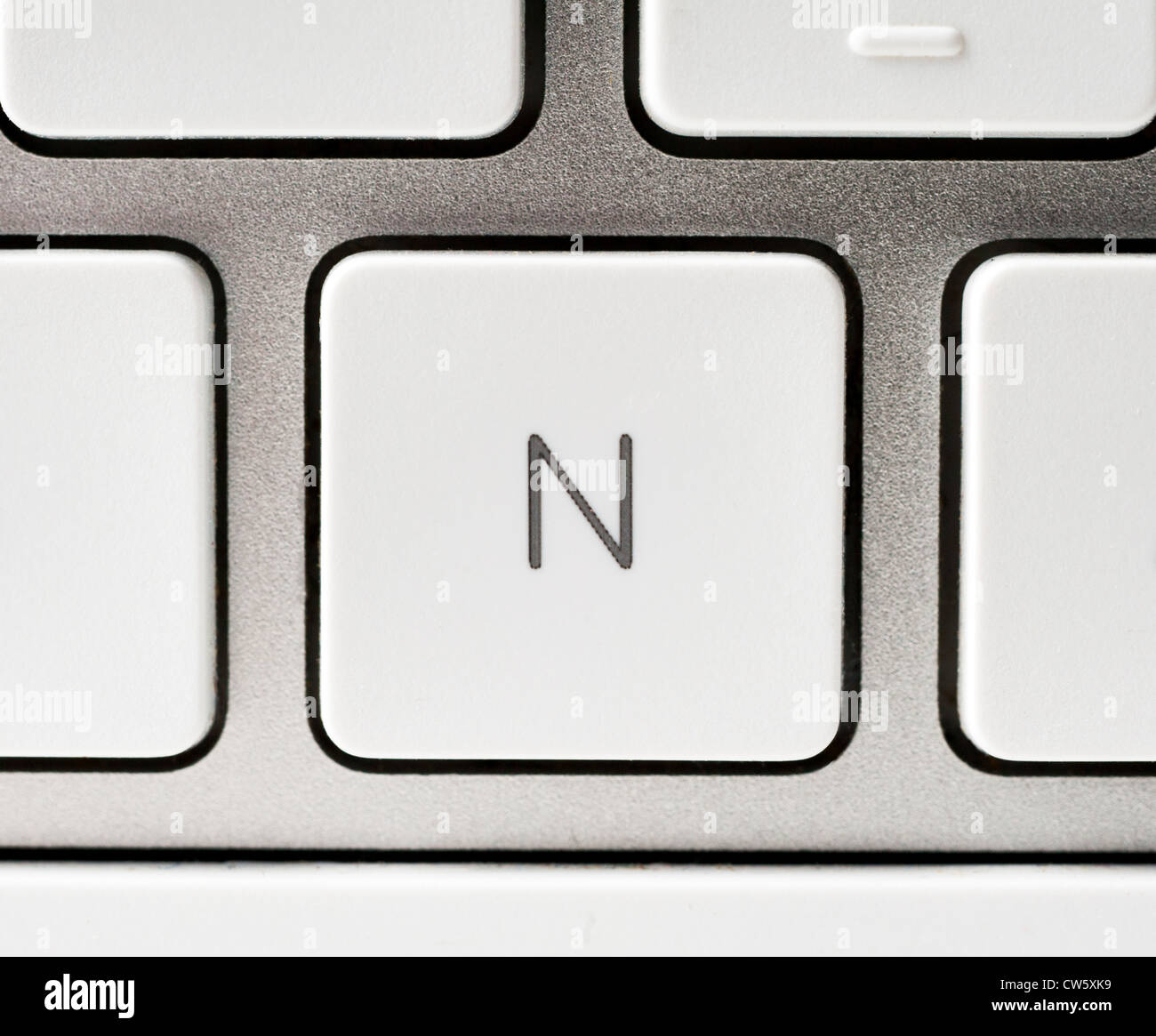 Letter N on an Apple keyboard - Stock Image