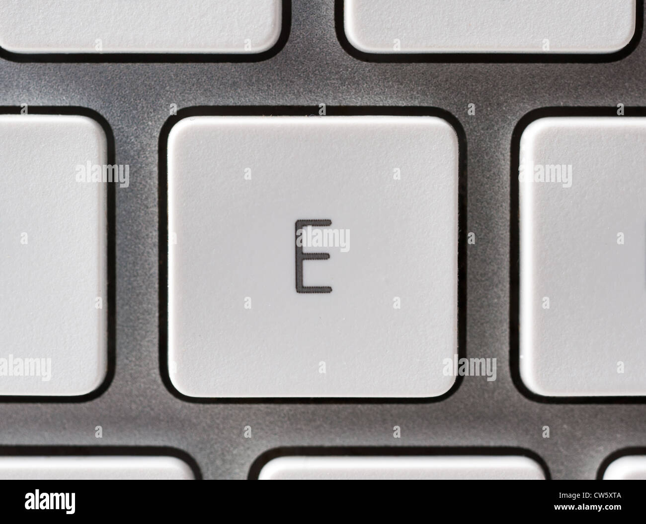 Letter E on an Apple keyboard - Stock Image