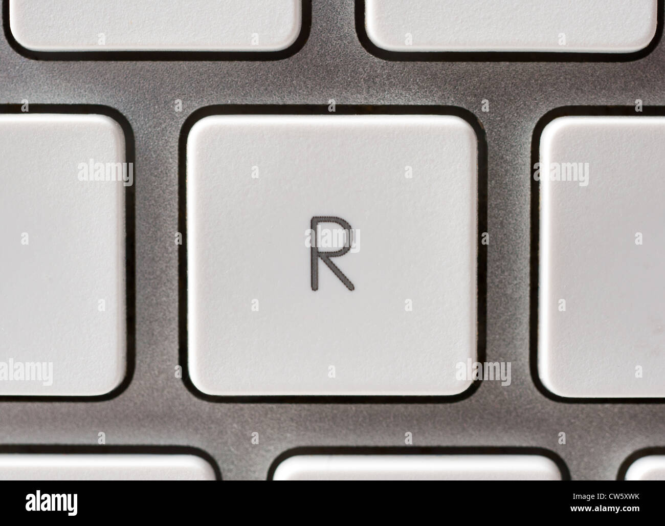 Letter R on an Apple keyboard - Stock Image