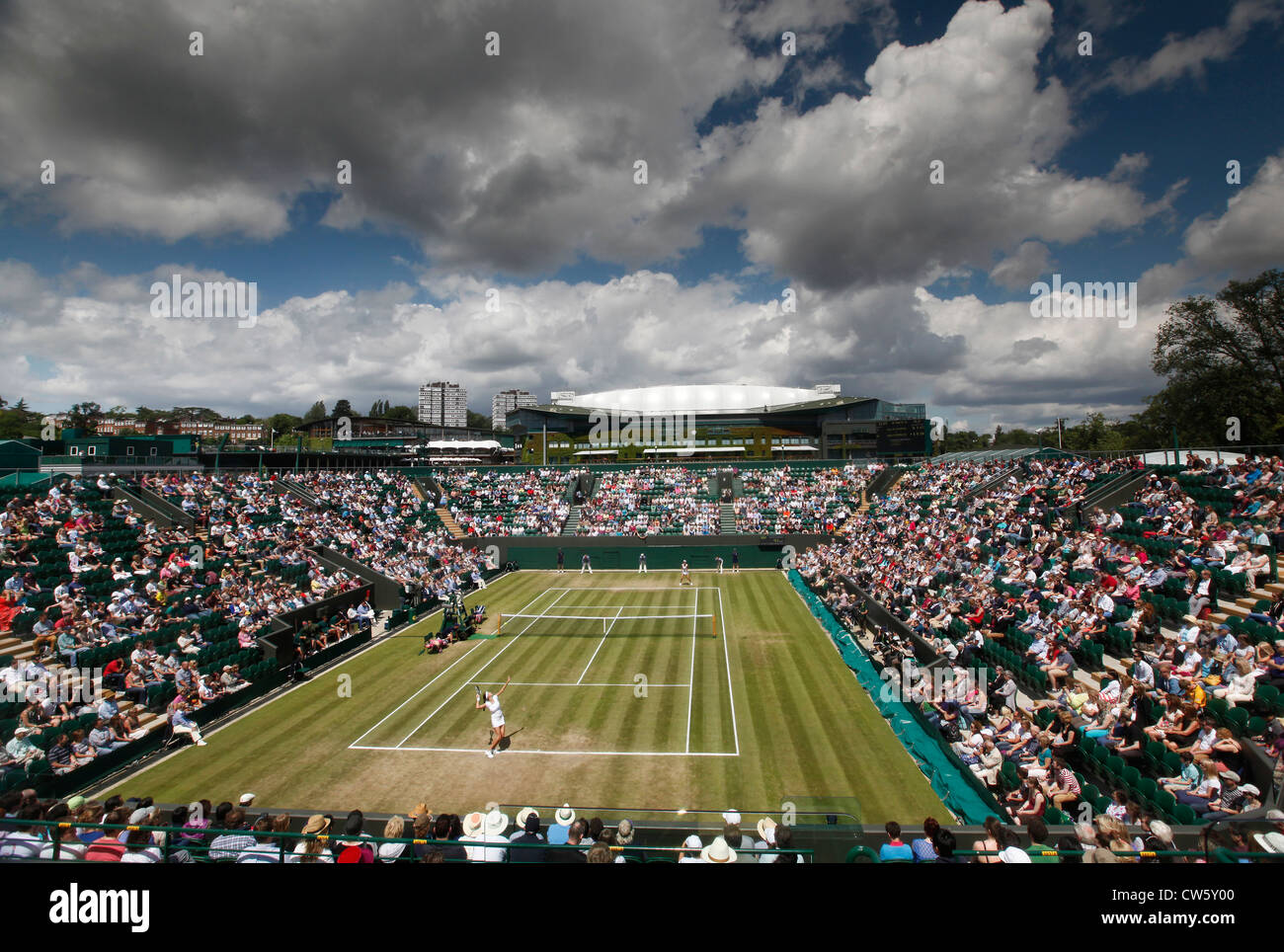 View from above of Show Court 2 at Wimbledon - Stock Image