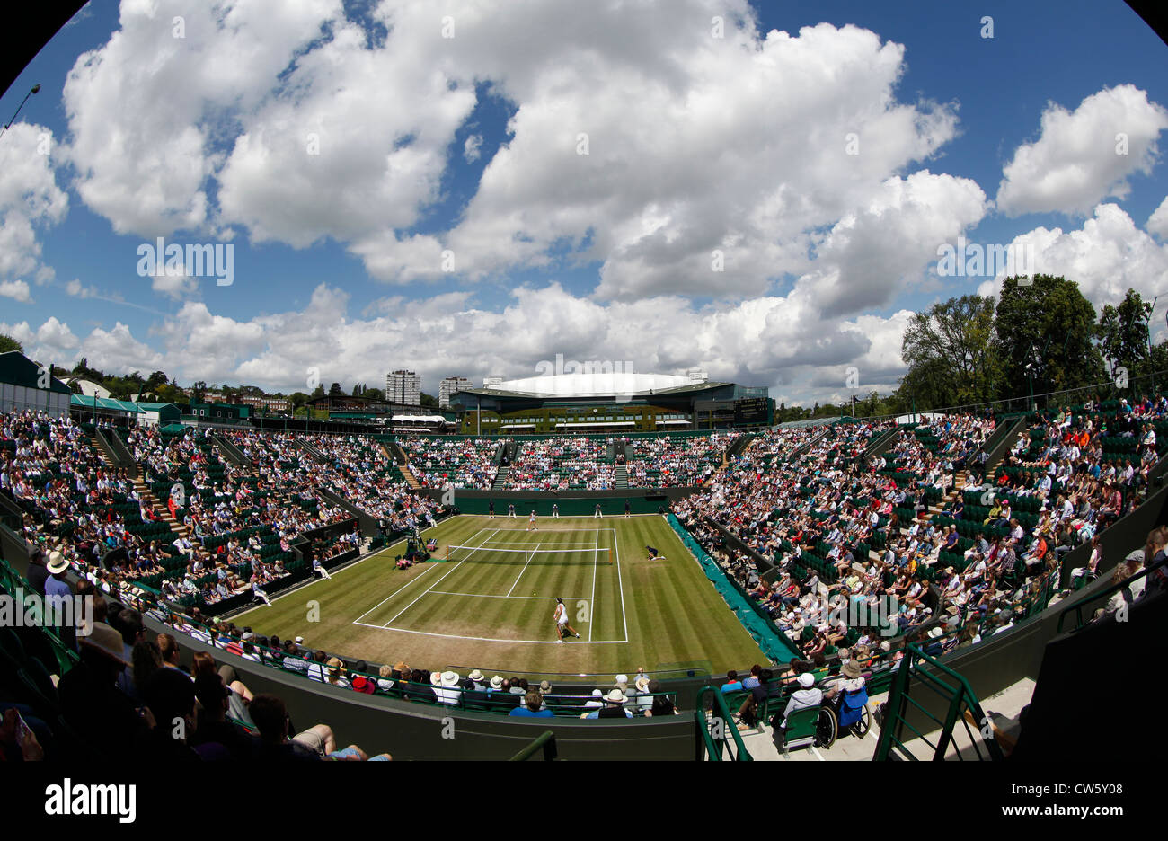 Wideangle view from above of Show Court 2 at Wimbledon - Stock Image