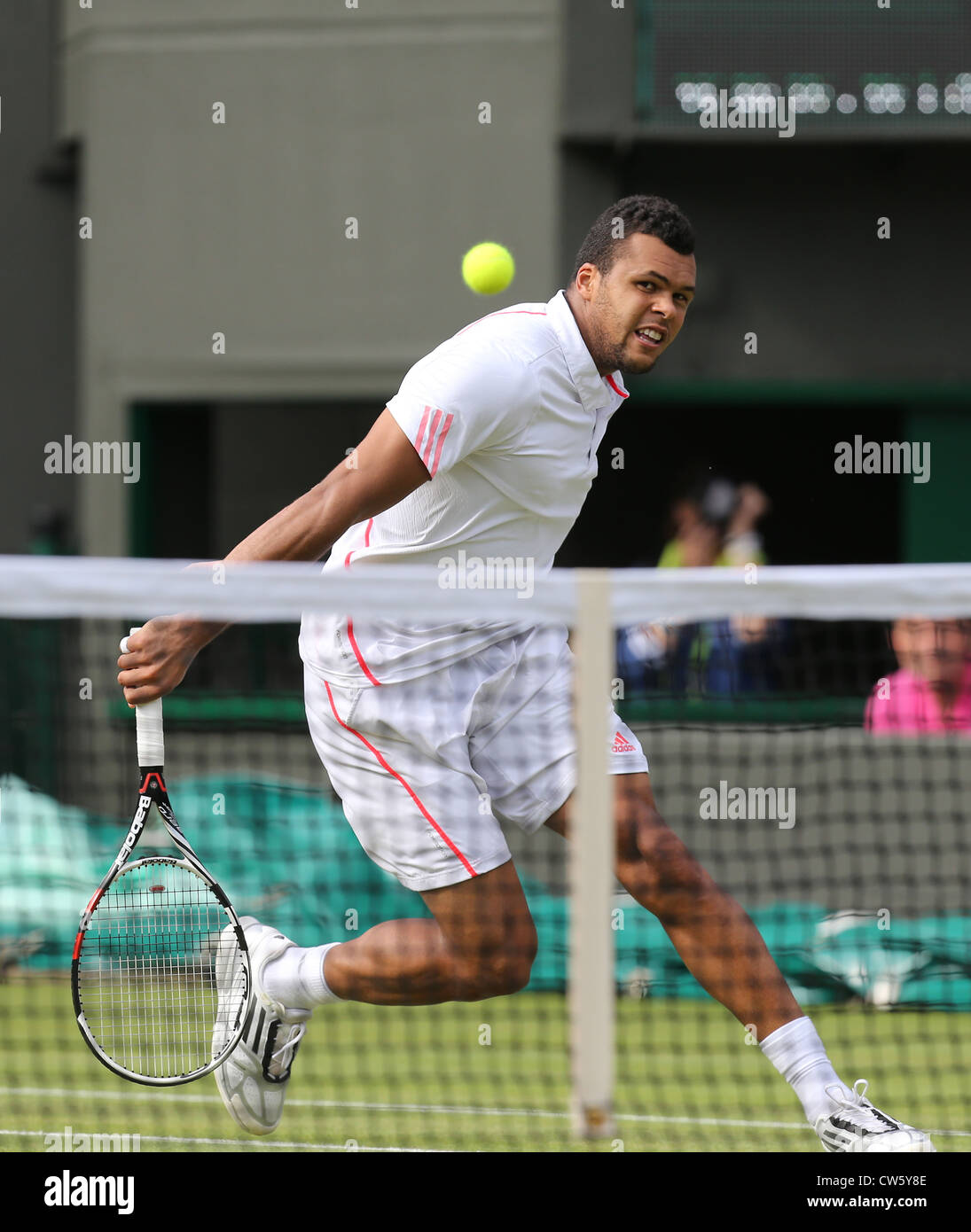 Jo-Wilfried Tsonga (FRA) in action at Wimbledon - Stock Image