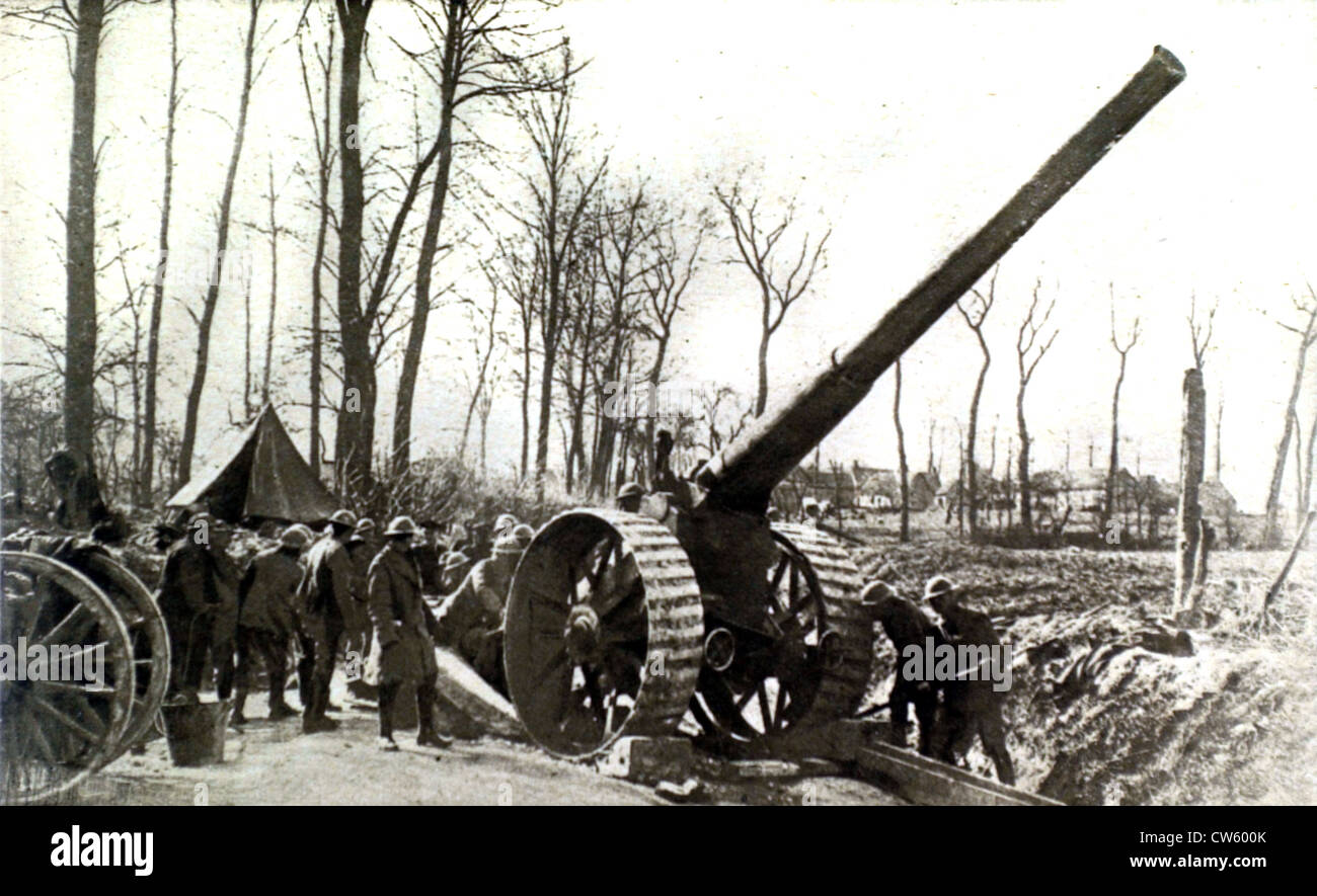 World War I. At the front, one of the best British artillery pieces - Stock Image