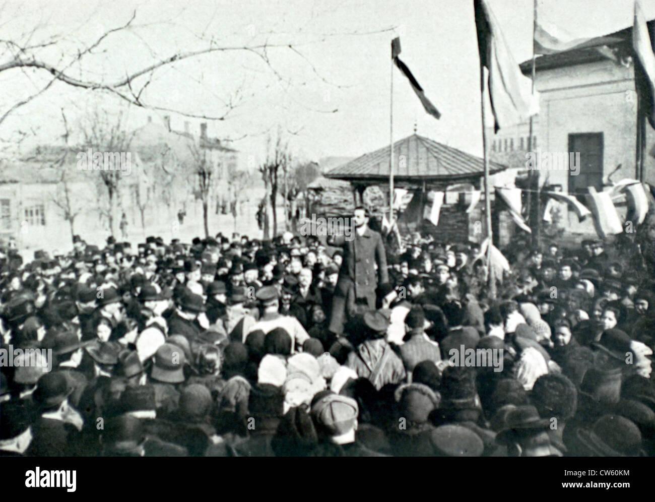 Bulgaria. War of the Balkans. Demonstration in Silistria (1913) - Stock Image