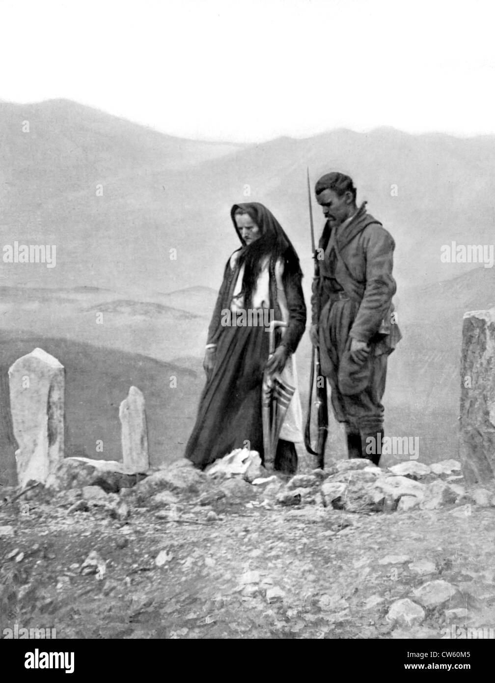 Before withdrawal from Scutari Montenegro mother her son at grave father killed in assault Bardaniol heights (1913) - Stock Image