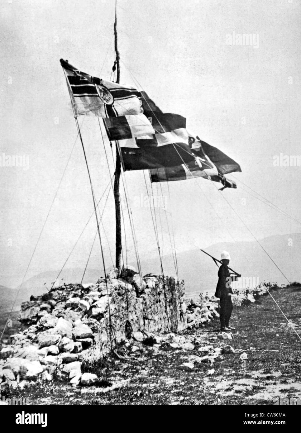 Flags of the powers flying over the fortress of Scutari (1913) - Stock Image