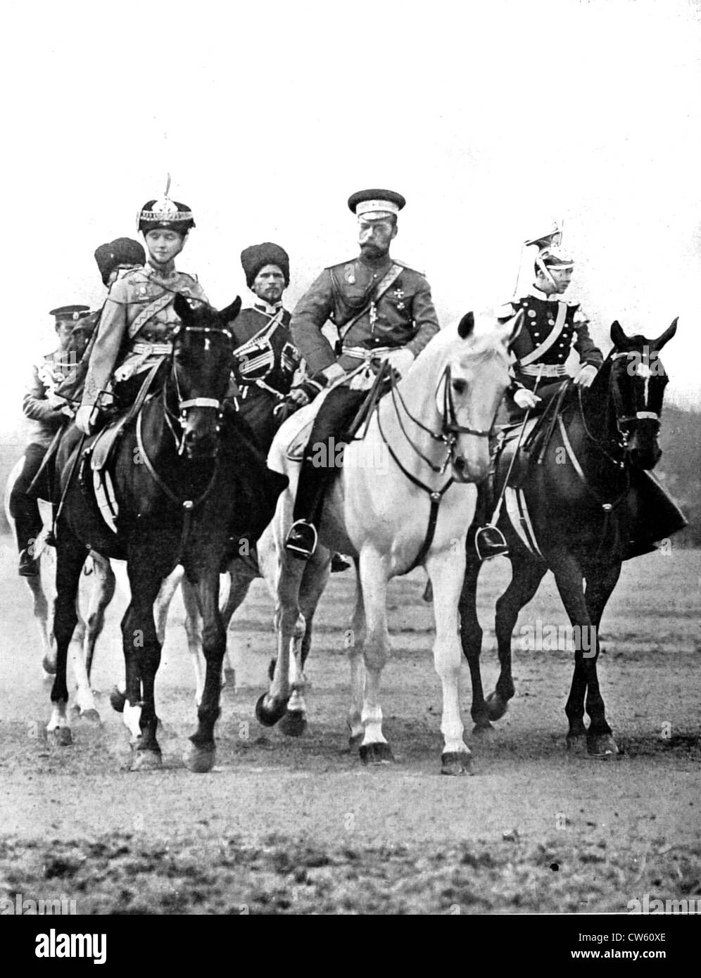 At Peterhof, Nicholas II accompanied by his daughters Olga, colonel of the Hussards, and Tatiana, colonel of the - Stock Image