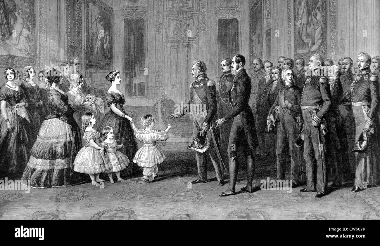 At Windsor Palace, Queen Victoria receiving King Louis-Philippe I of France (1844) - Stock Image