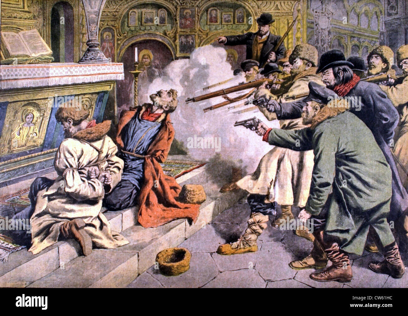 A group of revolutionaries executing two of their own, accused of having betrayed the cause, in Slankow (1907) - Stock Image
