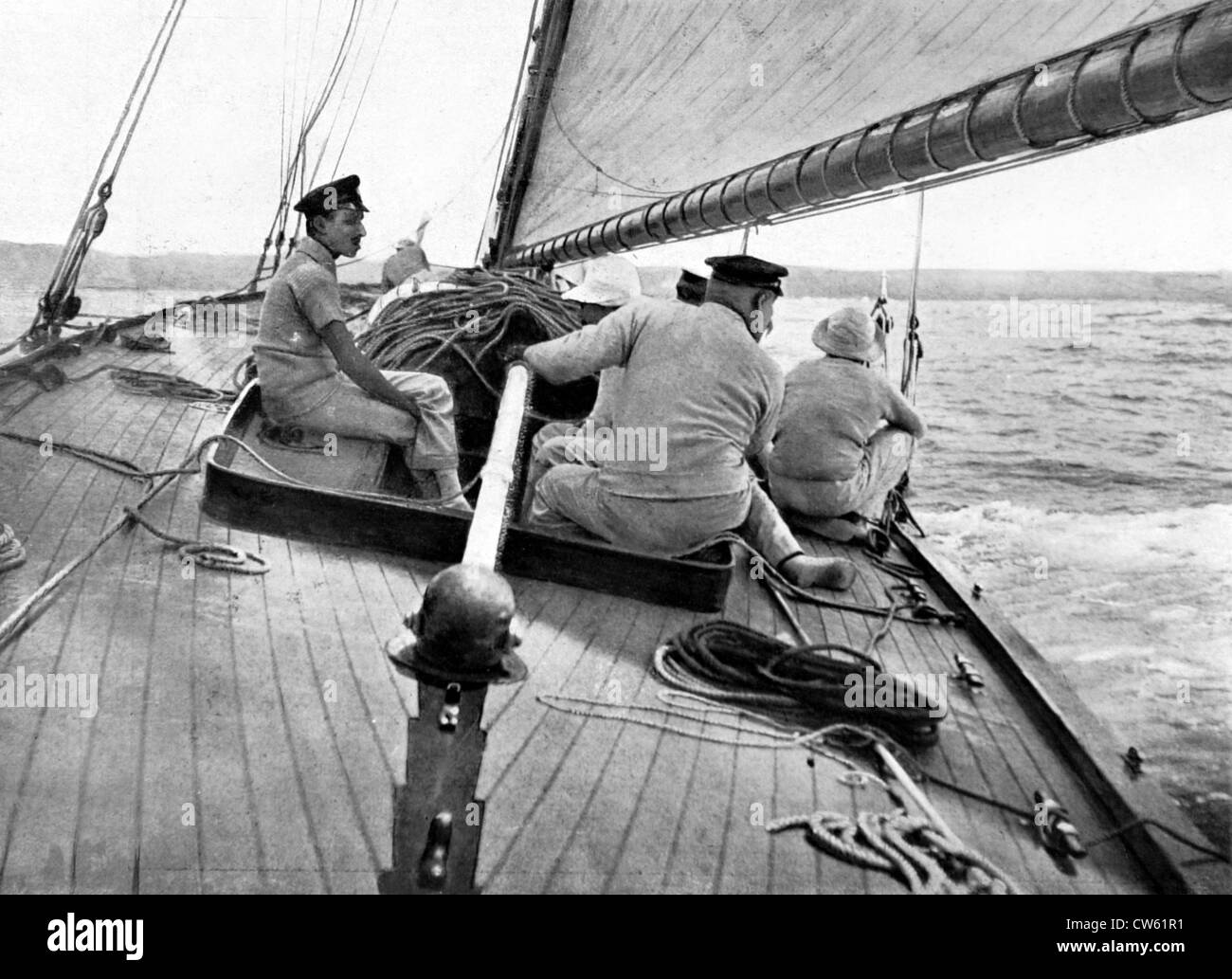 King Alfonso XIII of Spain aboard his yacht during regattas (1910) - Stock Image