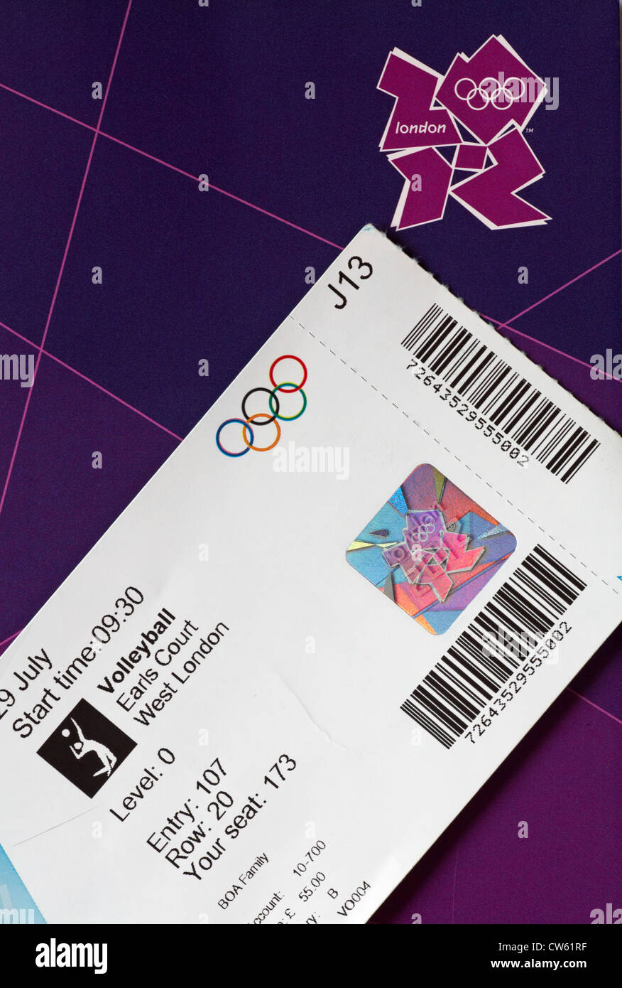 Olympic games ticket to watch volleyball match at Earls Court - Stock Image