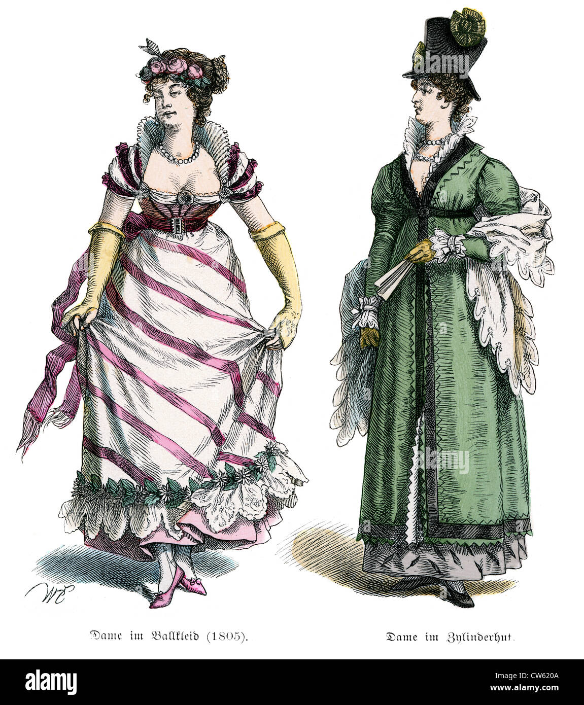 Young women in early 19th Century Costume - Stock Image