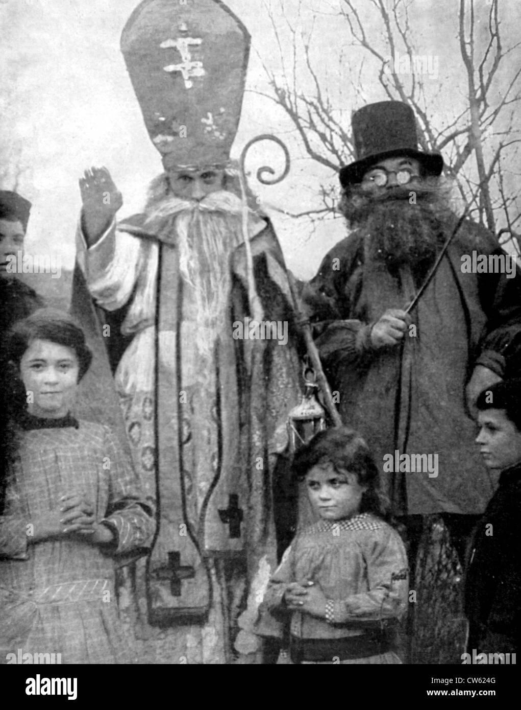 World War I In village Lorraine region soldiers celebrating St Nicolas' Day children inhabitants who have not - Stock Image