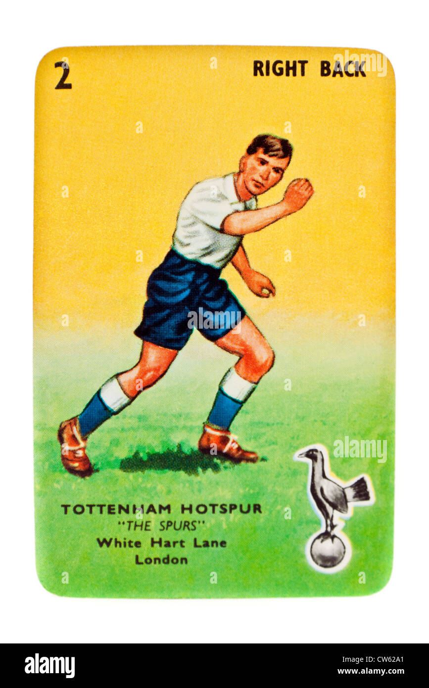 Tottenham Hotspur right-back card from vintage 1950's Goal! card game (Pepys Series) by Castell Brothers, London - Stock Image