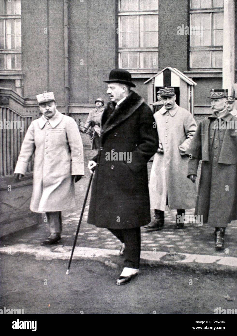 Mr. Maginot, French minister of War, on a tour of inspection in the Ruhr region, 1923 - Stock Image