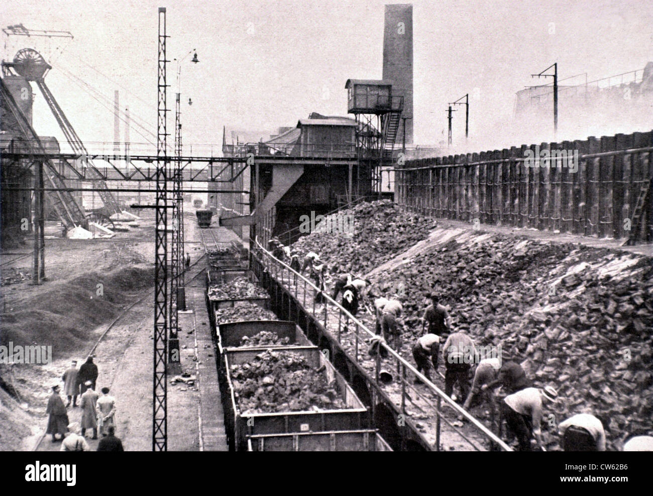 French occupation of the Ruhr region, at the cokeworks of Westerholt, in 1923 - Stock Image