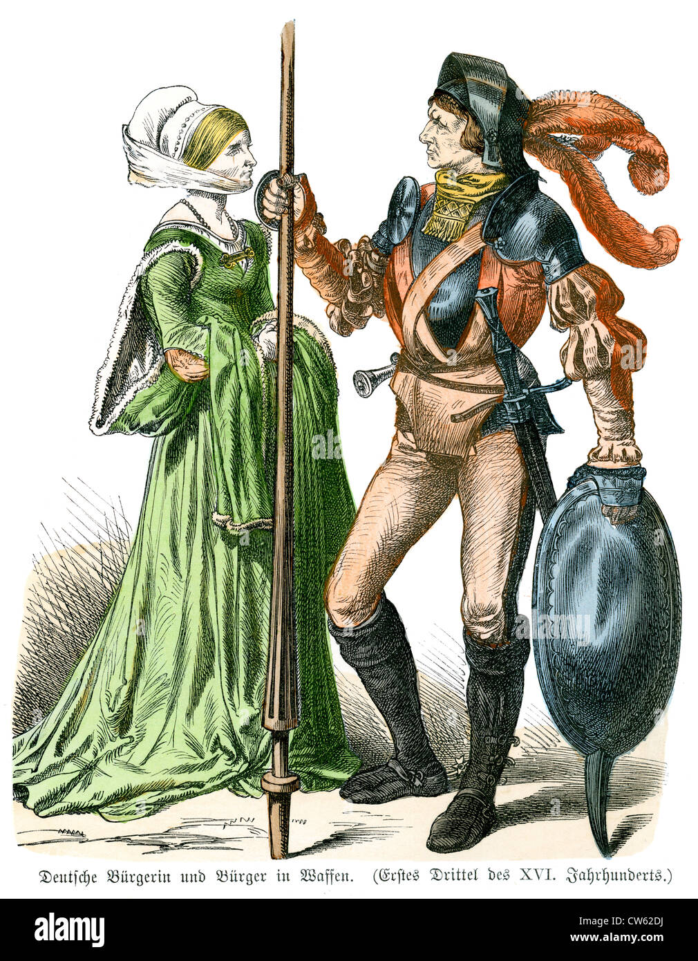 German Knight and Lady from the late 16th Century - Stock Image