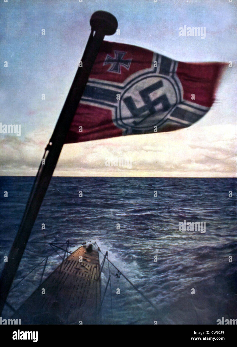 World War II.  A German submarine in the Atlantic Ocean, in 'Signal' Febrary 1941. - Stock Image