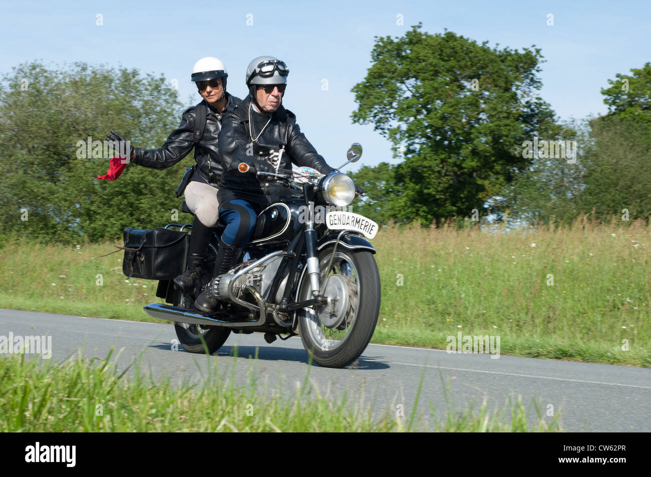 BMW R75/S Gendarmerie motorcycle of 1970 in the Tour de Bretagne near Pordic in the Cotes d'Amor (22) department - Stock Image