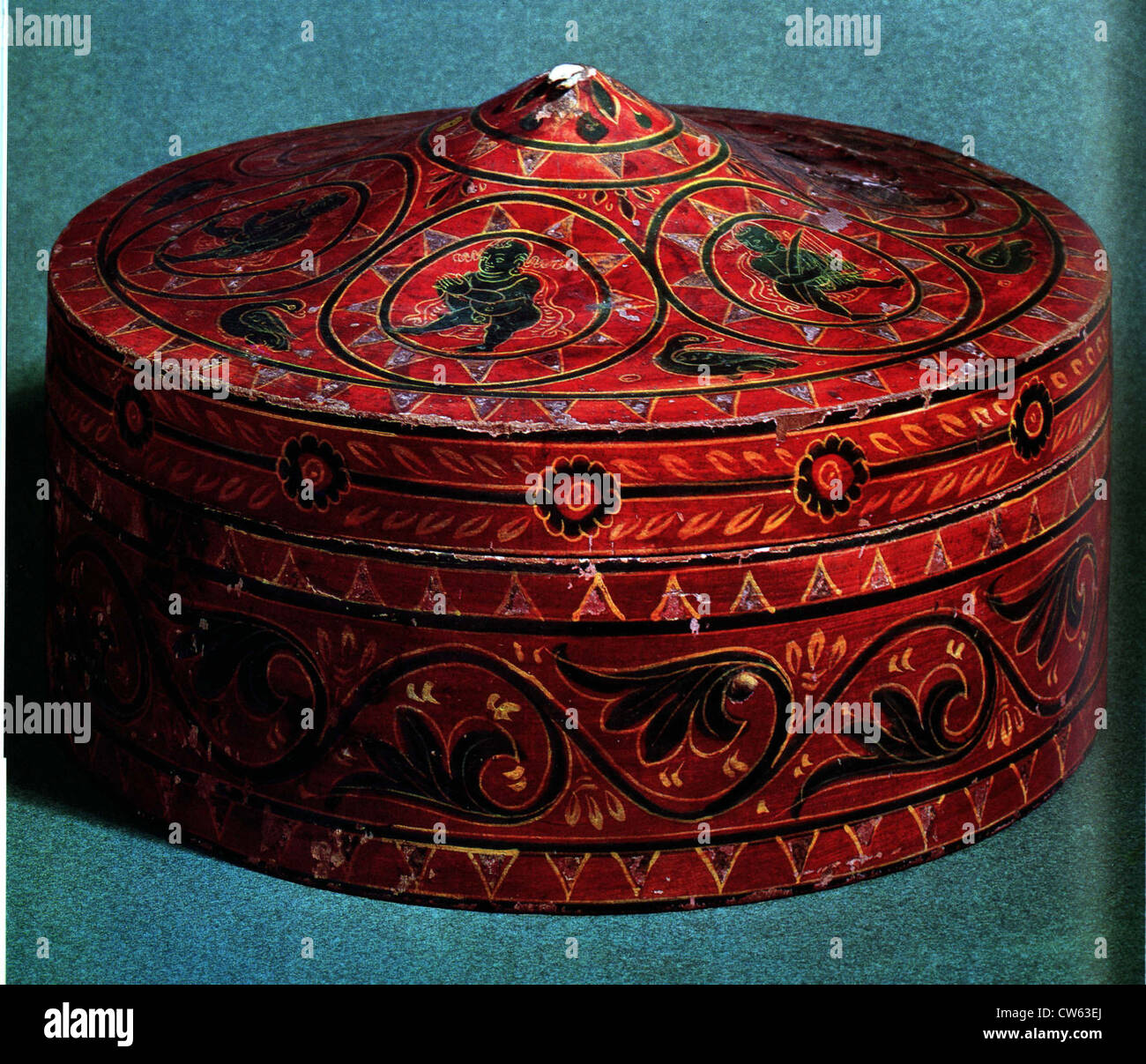 Polychrome wooden reliquary box - Stock Image