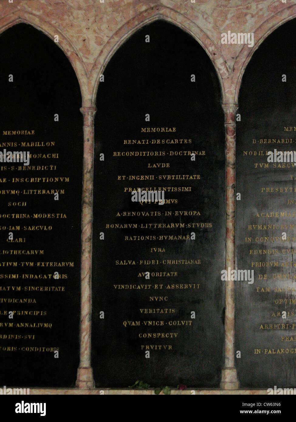 Funerary plate of René Descartes - Stock Image