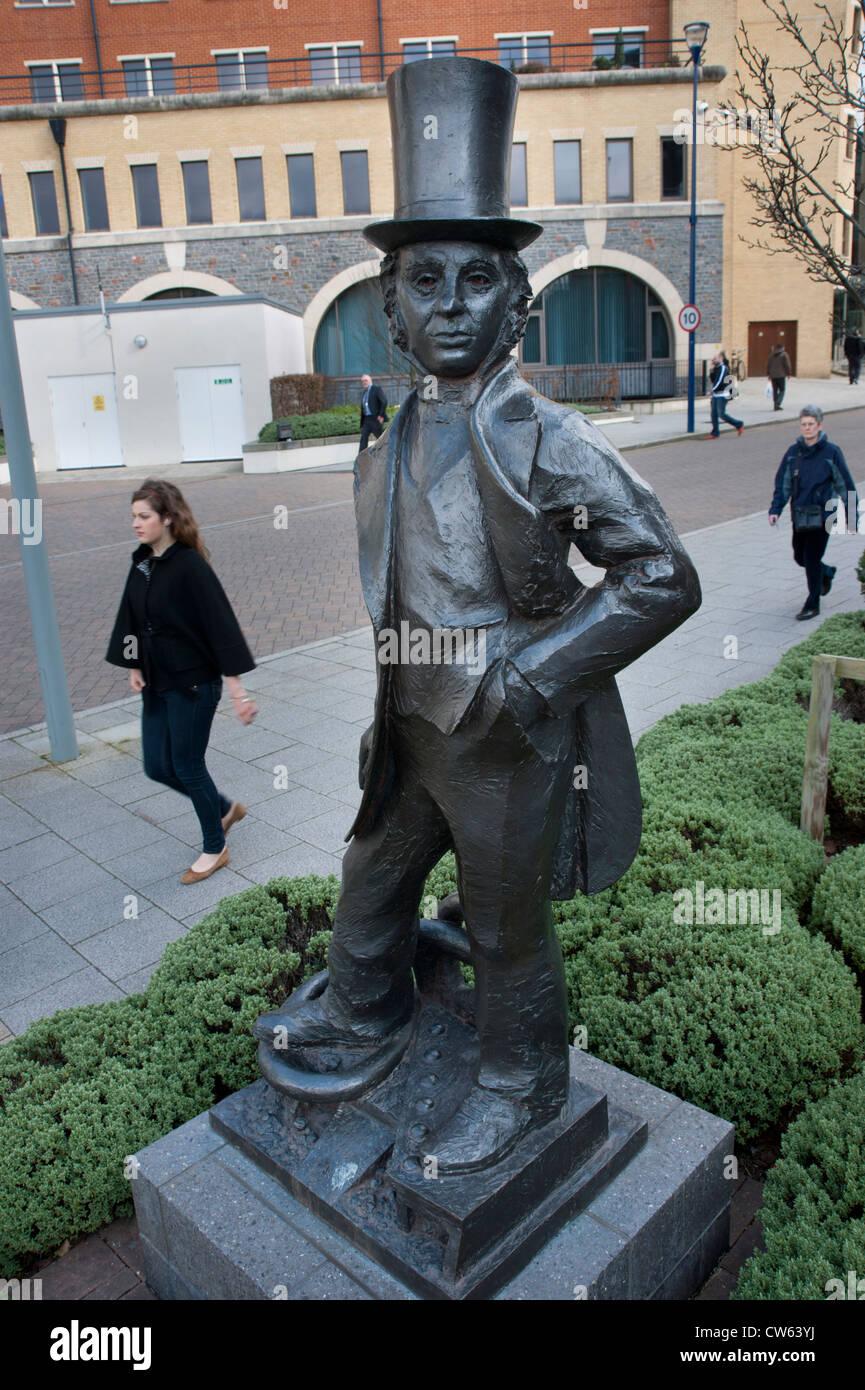 Statue of Isambard Kingdom Brunel in the Temple Quay area of Bristol - Stock Image