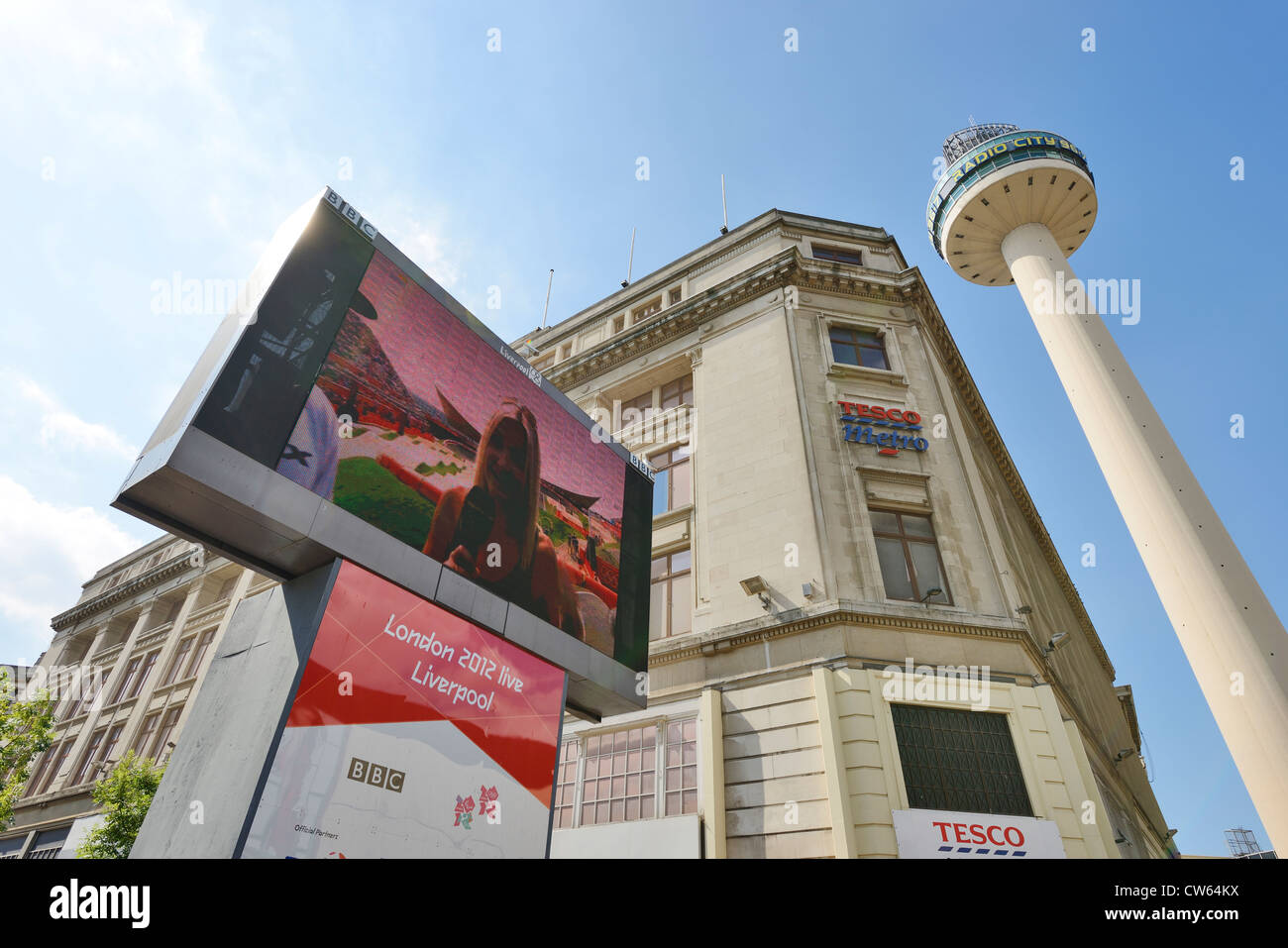 The BBC Big Screen in Clayton Square Liverpool showing London 2012 Olympics - Stock Image