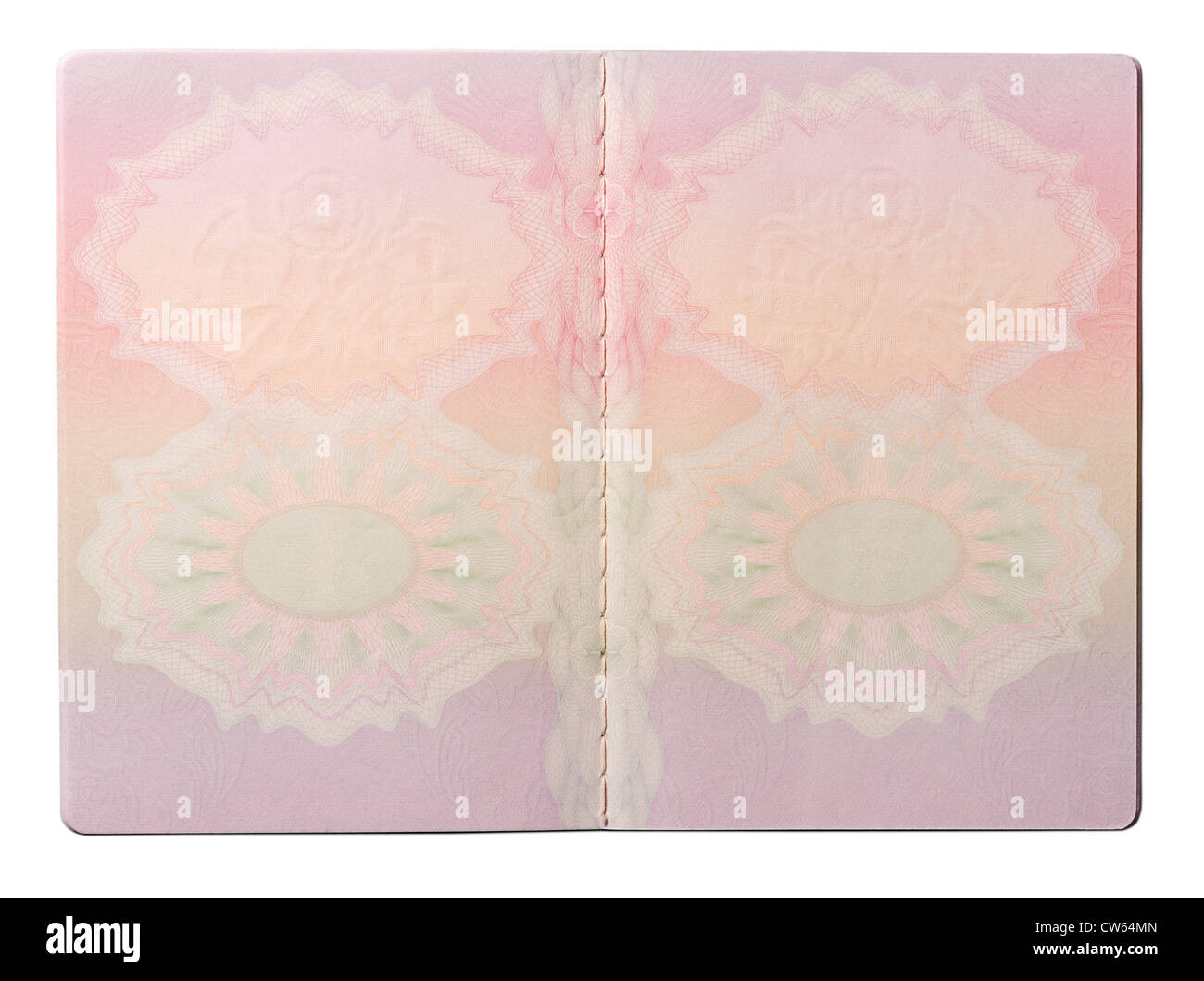 Blank UK passport pages - Stock Image