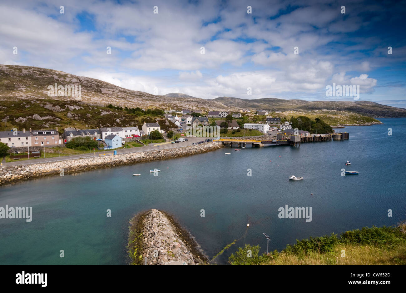Tarbert on the Isle of Harris in the Outer Hebrides, viewed from the hills surrounding the port - Stock Image