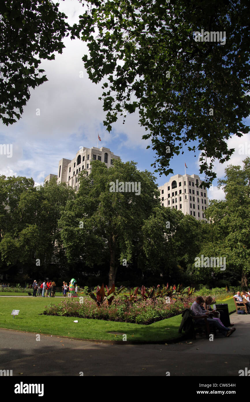 The Victoria Embankment Gardens are a series of gardens on the north side of the River Thames between Blackfriars Stock Photo
