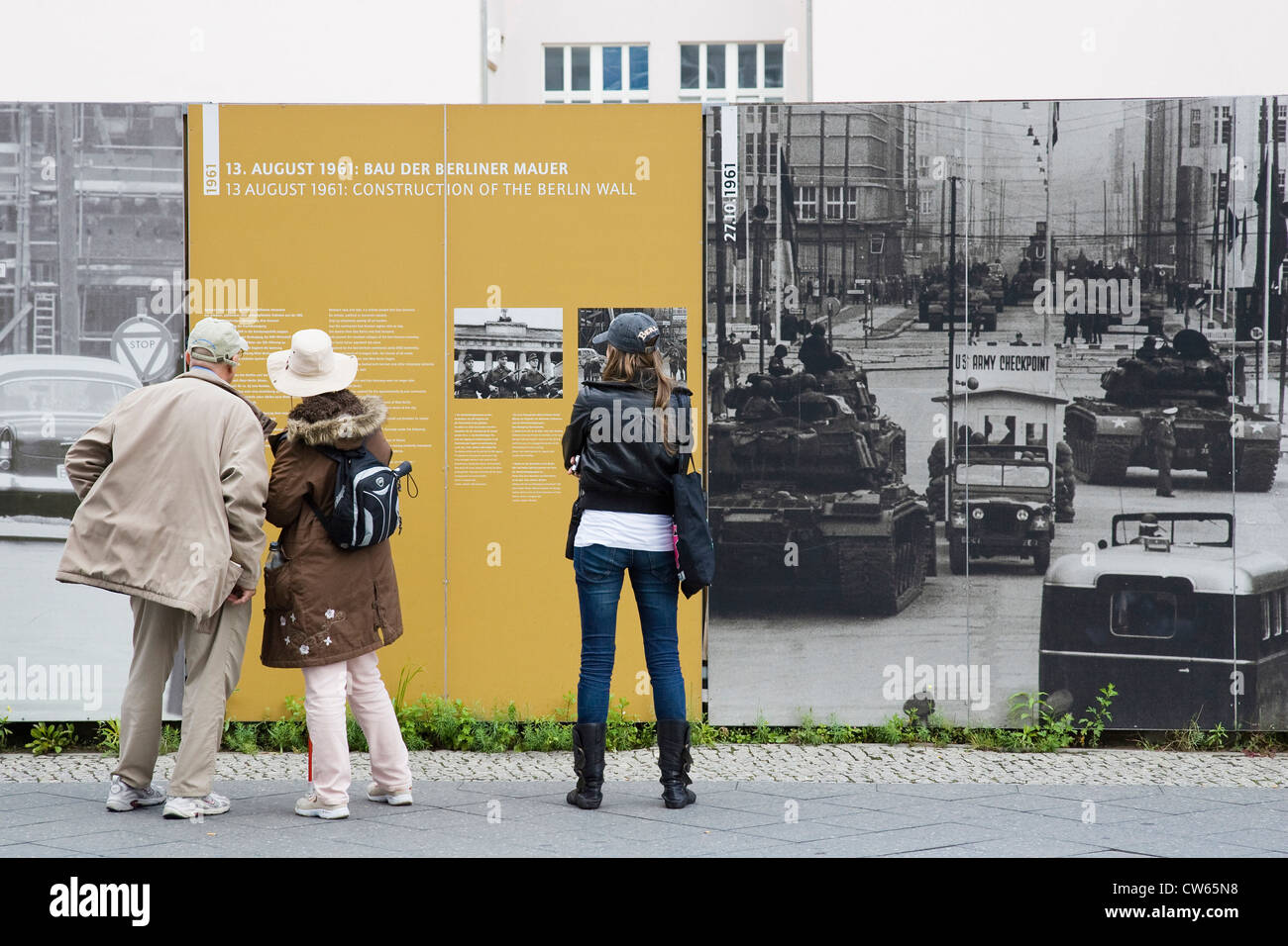 Europe, Germany, Brandenburg, Berlin, Checkpoint Charlie, outdoor exhibition about the Wall of Berlin history - Stock Image