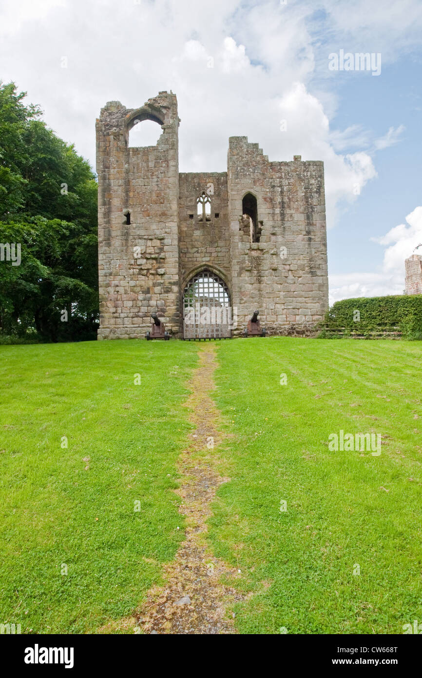 Ruined castle at Etal, Northumbria - Stock Image