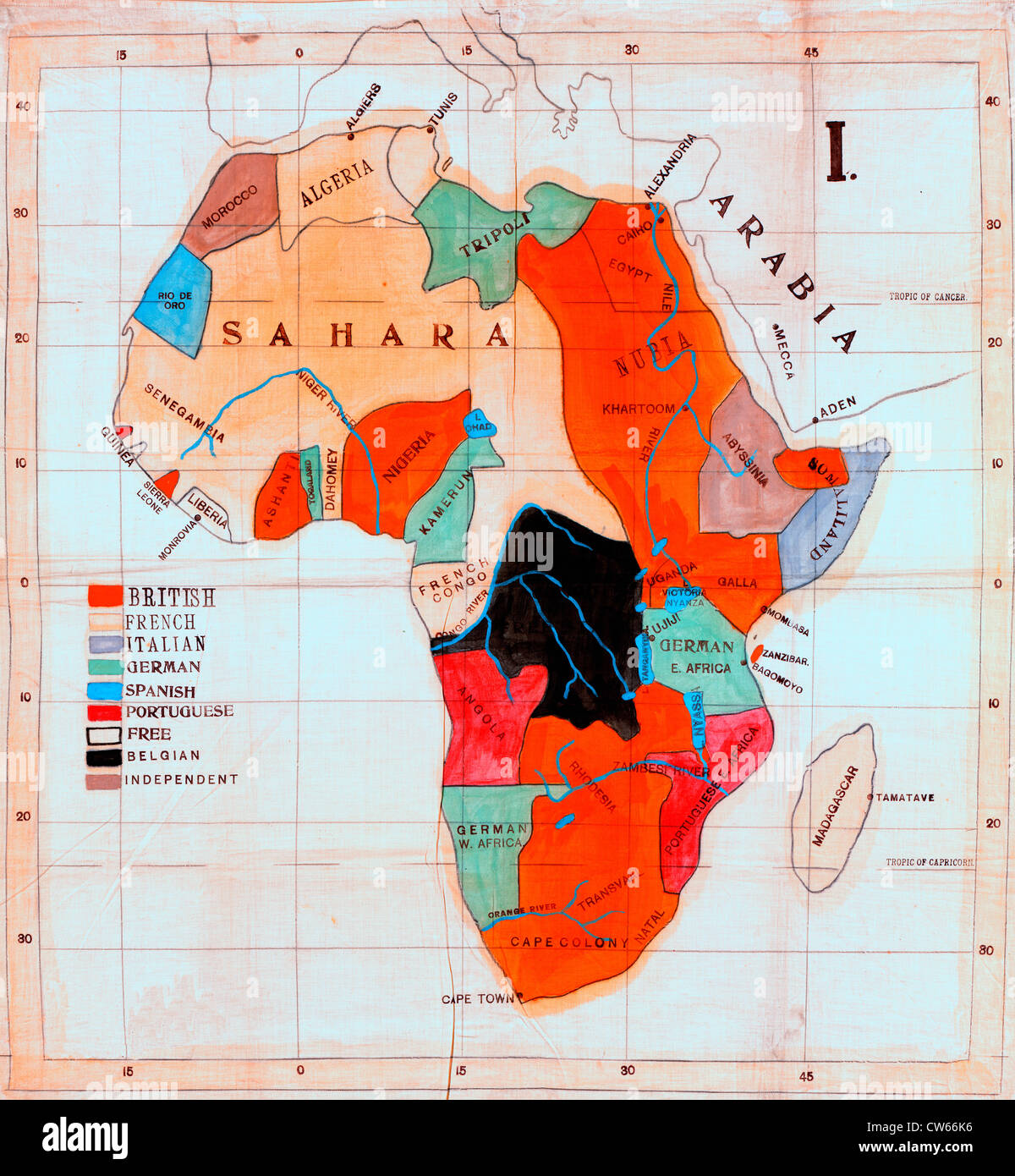 Map of Africa showing European colonies and independent countries