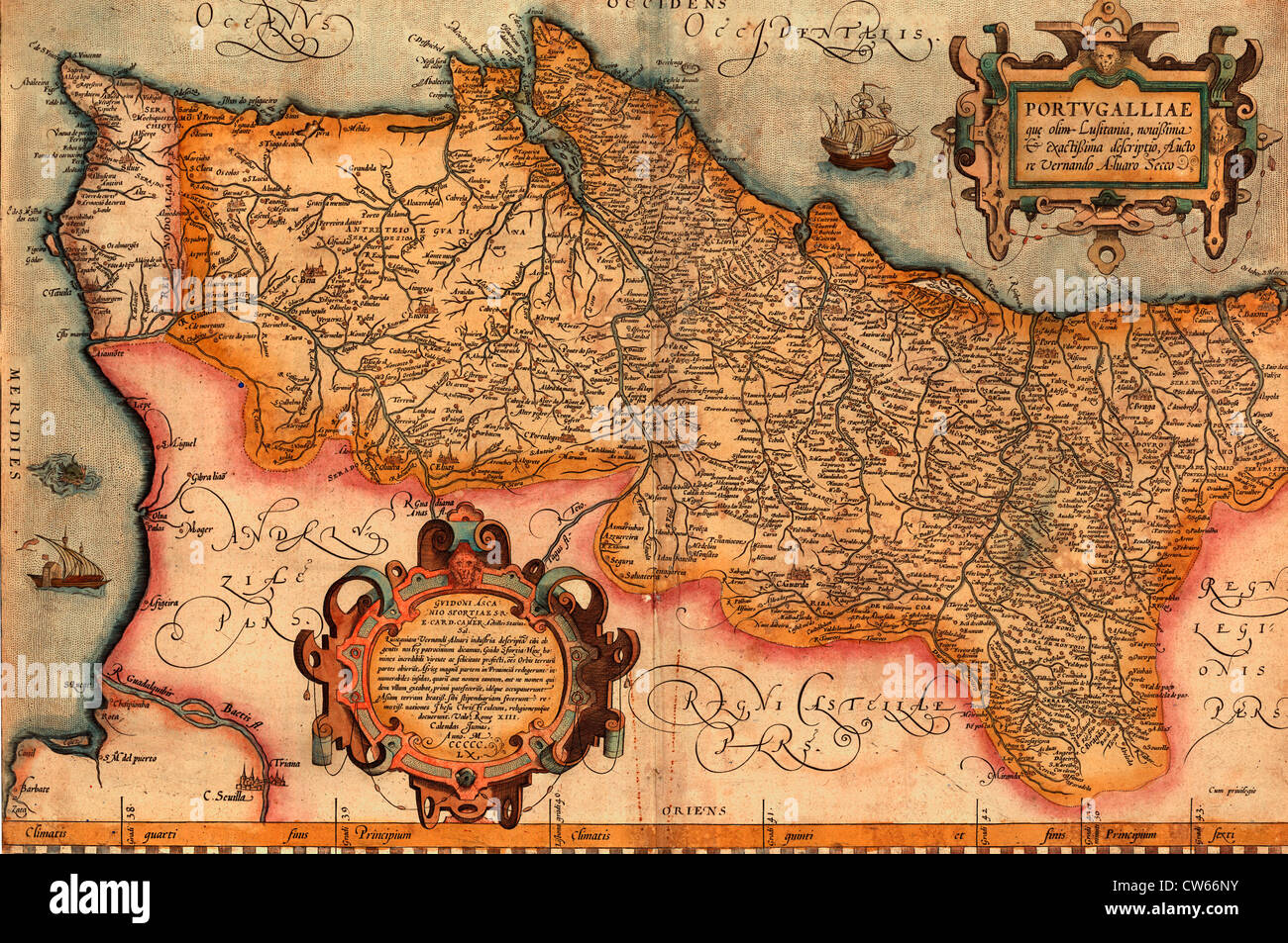 Map of Portugal, circa 1579 - Stock Image