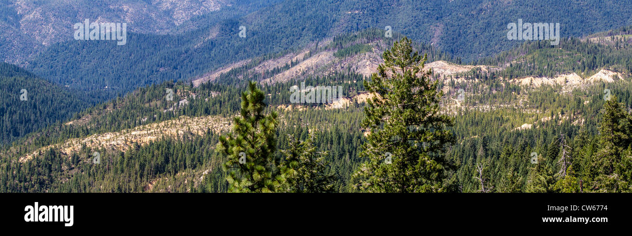 Panorama of Malakoff Diggins State Historic Park along the Yuba River in the Sierra Nevada mountains of California - Stock Image