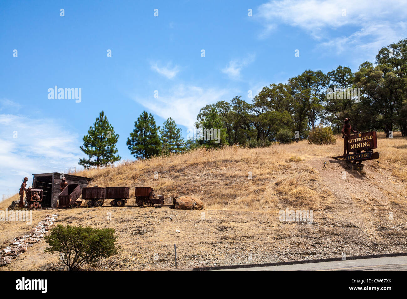An Old Timey mining display on the Highway at Sutter Creek California in the Gold Rush country - Stock Image