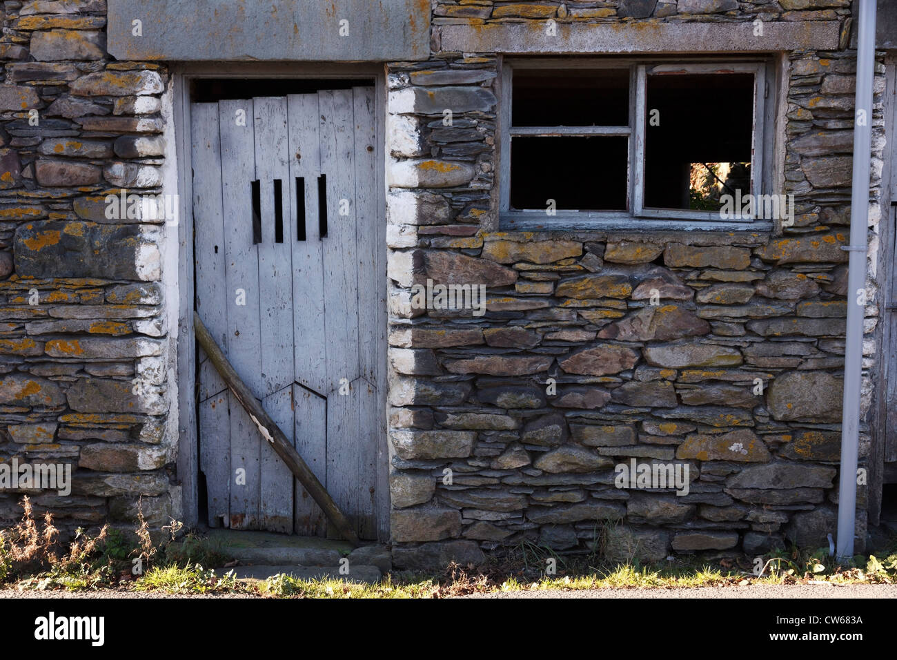 Old Pale Blue Grey Painted Wooden Door In Old Slate Farm Building, Colwith,  Lake