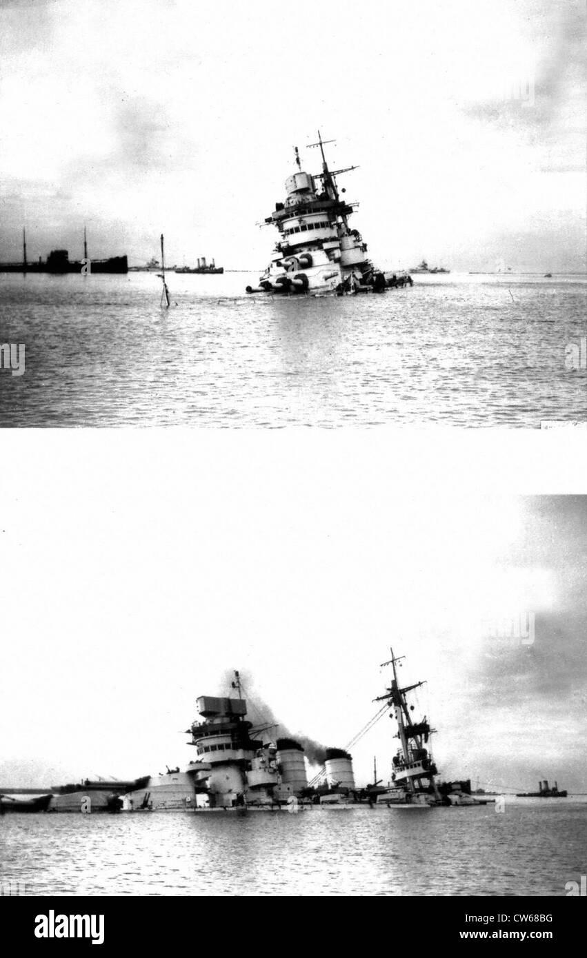 Italian battleship 'Cavour', sunk at Tarento by British planes - Stock Image