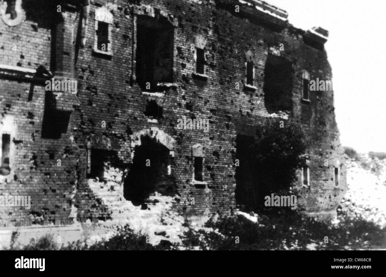 Ruins of the citadel of Brest-Litovsk (Byelorussia), in 1945 - Stock Image