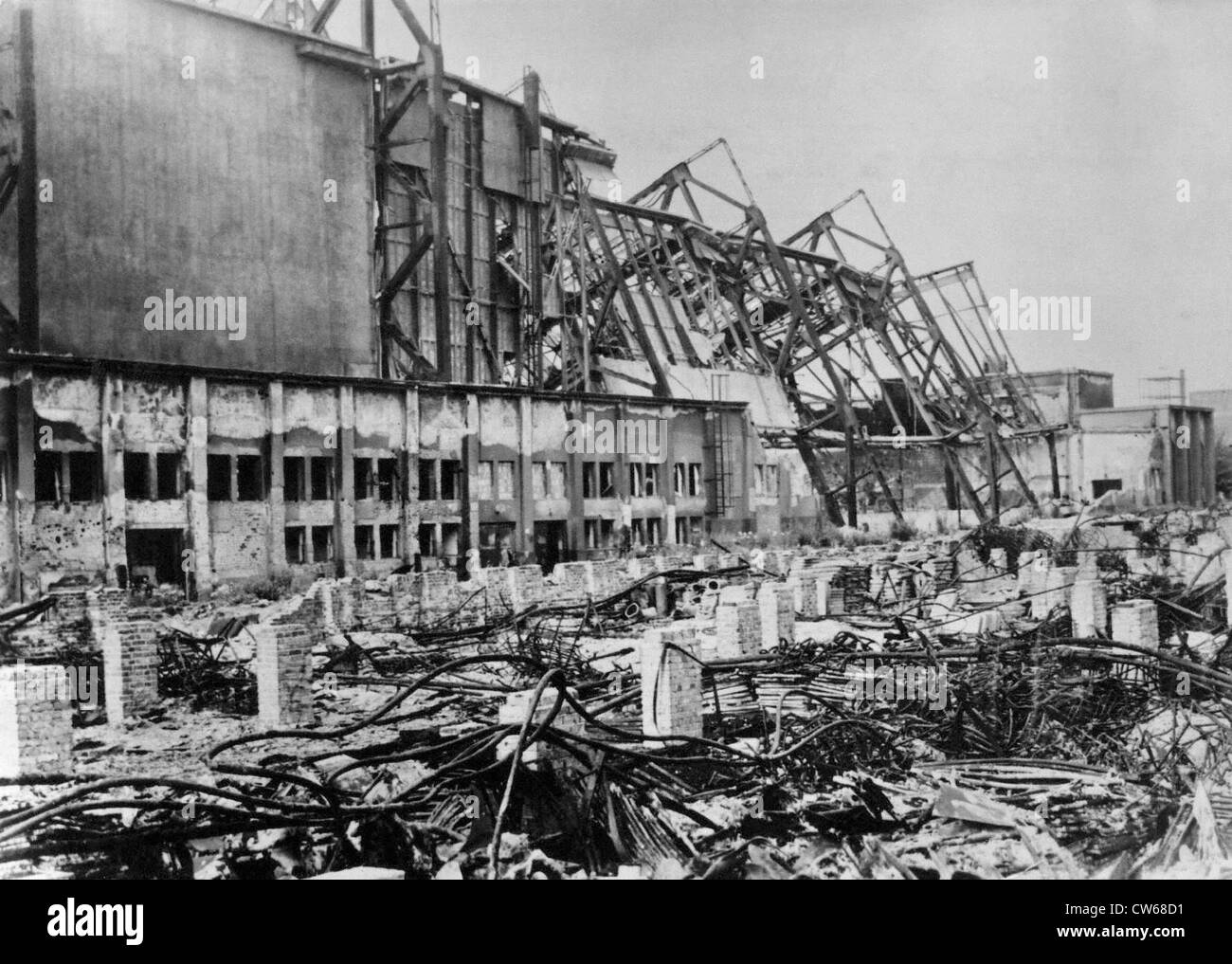 Ruins of the Leipzig  (East Germany) Fair buildings, 1945. - Stock Image