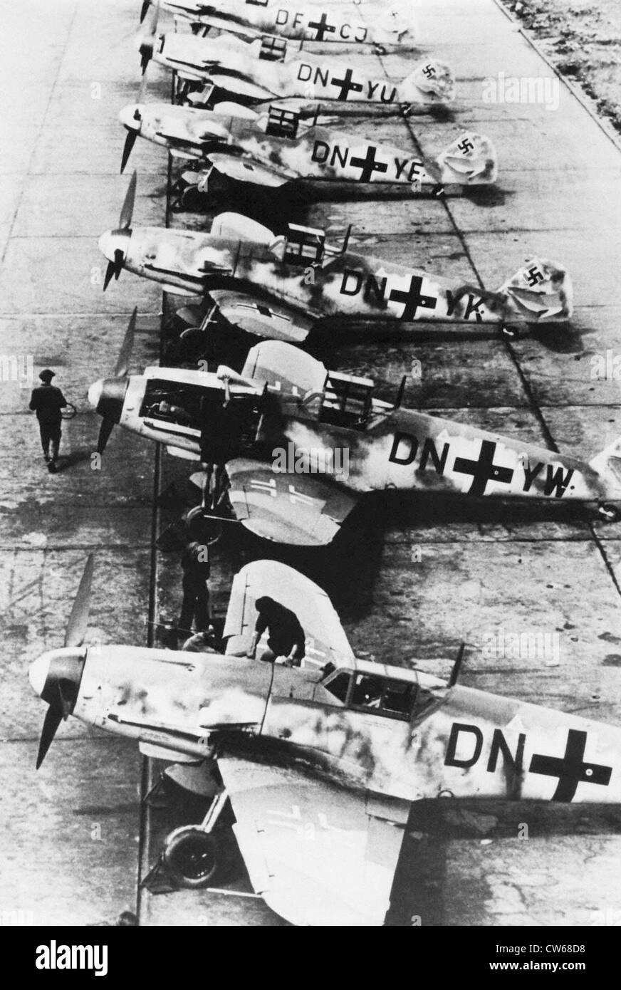 German Messerschmidt 109 fighters on an airfield, 1942 - Stock Image