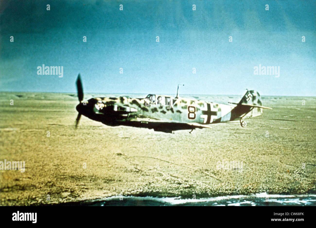 German Messerschmidt Bf-109 fighter plane in Libya, 1942. - Stock Image